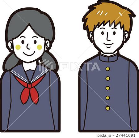 学ランの男子学生とセーラ服の女子学生 27441091