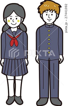 学ランの男子学生とセーラ服の女子学生(全身) 27441092