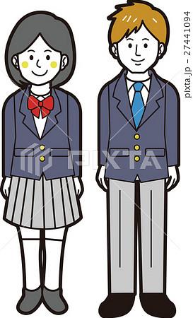 ブレザーの男子学生と女子学生(全身) 27441094