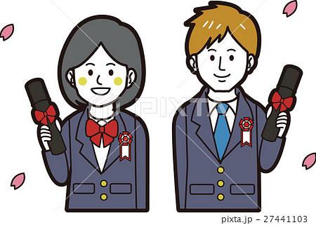 ブレザーの男子学生と女子学生(卒業式) 27441103