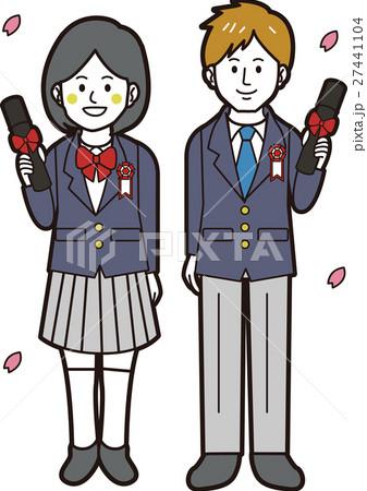 ブレザーの男子学生と女子学生(全身/卒業式) 27441104