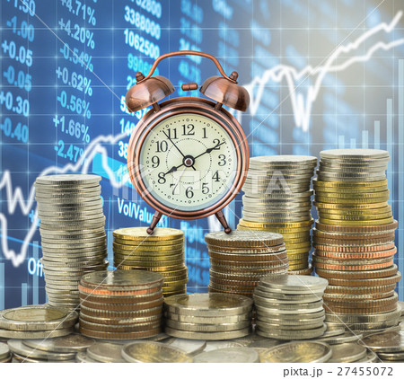 stacks of coins step thai baht with the vintage clock over the LED display Stock market exchange data background, Business investment and trading conceptの写真素材 [27455072] - PIXTA