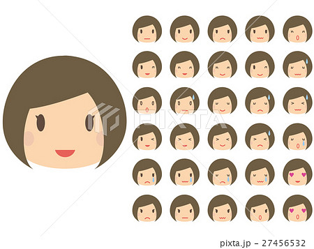 かわいい おかっぱ女性 たくさんの表情の顔パーツのイラスト素材