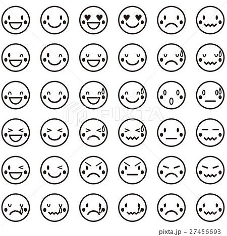 かわいい顔の表情パターンアイコン 白黒のイラスト素材 27456693 Pixta