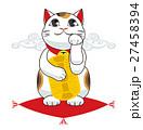 招き猫 縁起物 座布団のイラスト 27458394