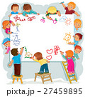 Happy children together draw on a large sheet of 27459895