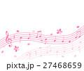 音符と桜 五線譜 背景イラスト 27468659