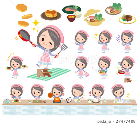Blue clothes headband girl cooking 27477489