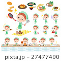 Polka dot clothes ribbon girl cooking 27477490