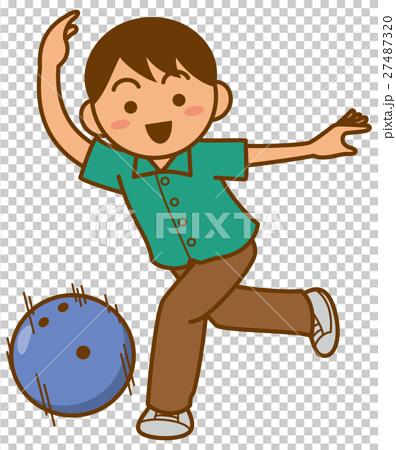 ボウリングをしている男性のイメージイラスト 27487320