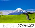 富士山と茶畑と青空 27494802