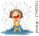 雨 子供 少年のイラスト 27495921