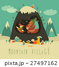 Snow covered village by the mountain with bear and 27497162