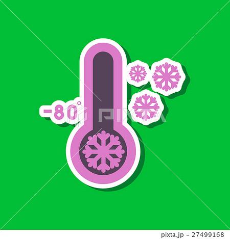 paper sticker on stylish background of thermometerのイラスト素材 [27499168] - PIXTA