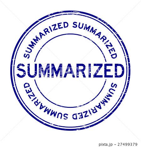 Grunge blue summarized round rubber stamp 27499379