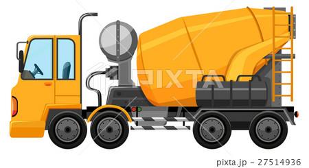 cement truck in yellow colorのイラスト素材 27514936 pixta