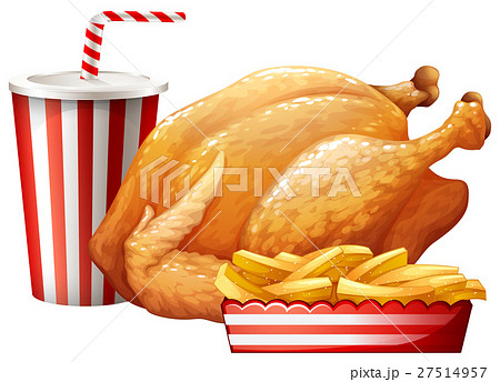 Fastfood set with fried chicken and drink 27514957