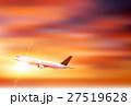 飛行機 空 夕日 背景  27519628