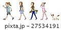 女性 人物 歩くのイラスト 27534191
