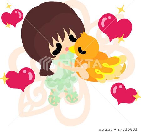 可愛い女の子と不思議な小鳥のイラストのイラスト素材 27536883 Pixta