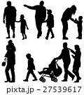 Set black silhouettes Family with pram on white 27539617