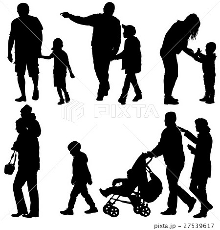 Set black silhouettes Family with pram on white 27539617