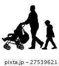 Black silhouettes Family with pram on white 27539621