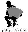Silhouette musician, accordion player on white 27539645