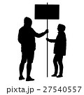 Silhouette man and woman hold banner on a pole 27540557