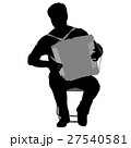 Silhouette musician, accordion player on white , 27540581