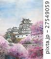 国宝姫路城と桜のスケッチ 27549059