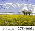 滋賀県の魅力 早春の比良山と菜の花畑 スケッチ 27549061