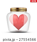 Red heart inside glass jar. 27554566
