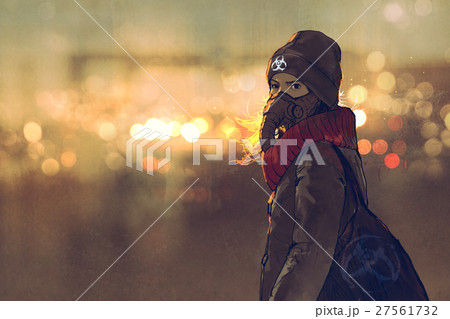 young woman with gas mask in winter  27561732