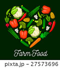 Vegetables farm food heart vector poster 27573696