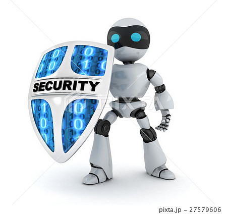 Modern robot and shield security 27579606