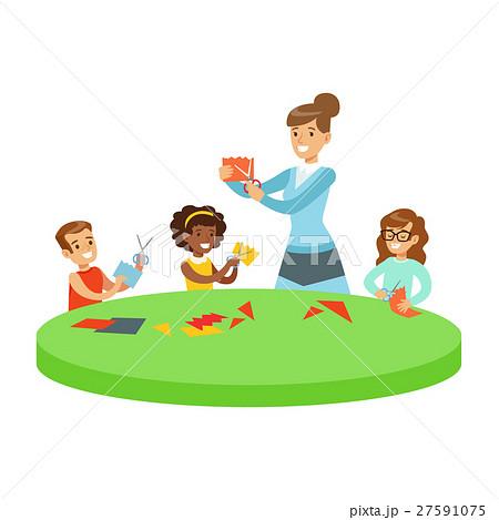 Three Children In Art Class Crafting Applique 27591075