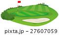 ゴルフ場 グリーンとバンカーのイメージイラスト 27607059