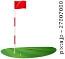 ゴルフ場 グリーンとボールのイメージイラスト 27607060
