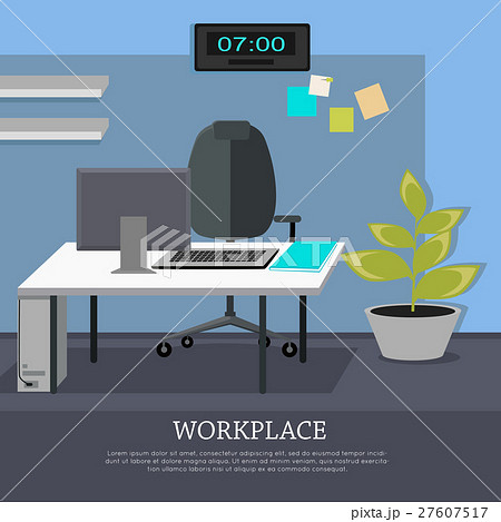 Workplace Concept Vector Web Banner in Flat Designのイラスト素材 [27607517] - PIXTA