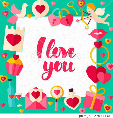 i love you day paper templateのイラスト素材 27611438 pixta