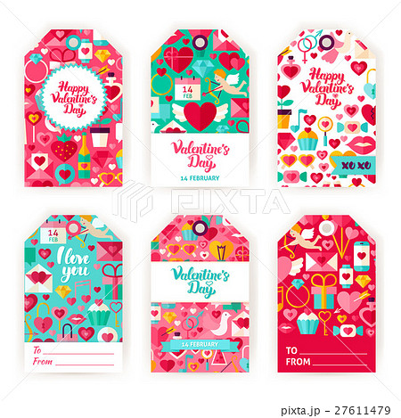 valentines day gift tag labelsのイラスト素材 27611479 pixta