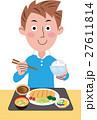 男性の食事 トンカツ定食 27611814