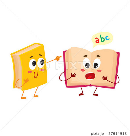 Funny book character running with bookmark ribbon 27614918