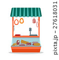 Cartoon Meat Store with Products. Vector 27618031