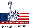 Statue of Liberty, NYC, USA flag 27618053