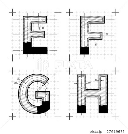 Architectural sketches of E F G H lettersのイラスト素材 [27619675] - PIXTA