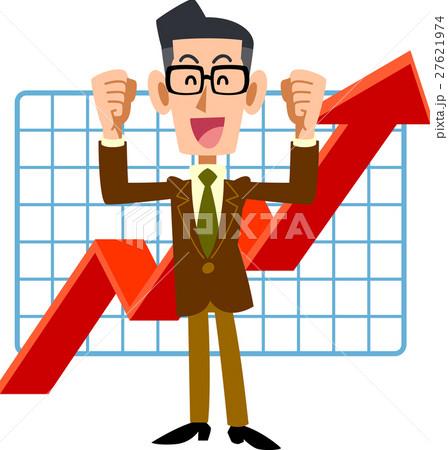 業績上昇を喜ぶ眼鏡をかけた男性 27621974