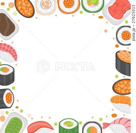 sushi frame template with space for text japaneseのイラスト素材