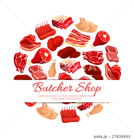 Butchery shop fresh meat vector poster 27636693